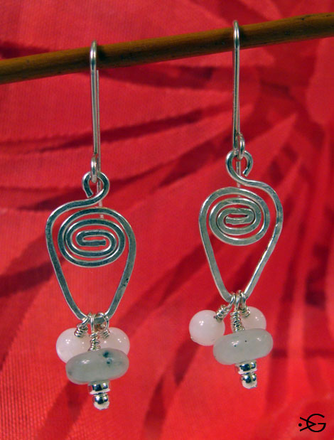 Sterling Silver Aquamarine and Mother of Pearl Earrings