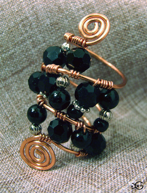 Black Agate and Crystal Wire Wrapped Copper Ring
