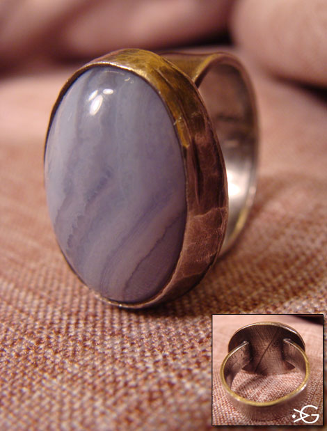 Sterling Silver Blue Lace Agate Ring