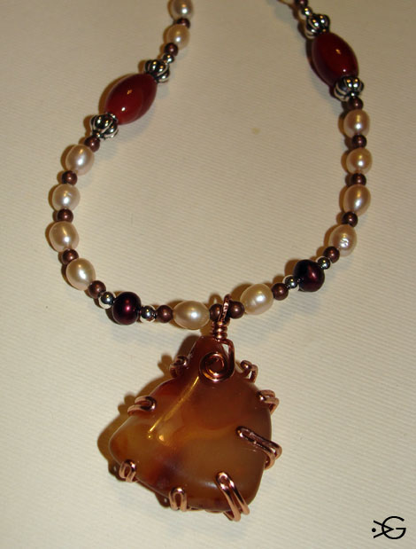 Copper Prong Set Red Agate Necklace